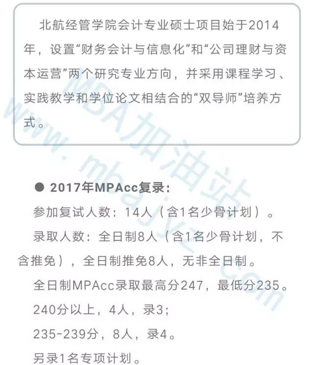 2017年北京航空航天大学MPAcc复录详情