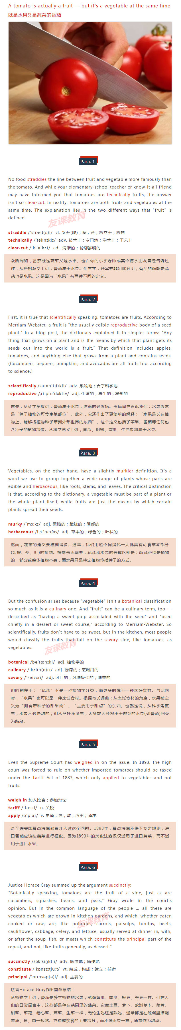 【读外刊学英语第二十九期】:A tomato is actually a fruit — but it's ...